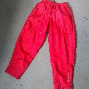 90s champion red windbreaker pants